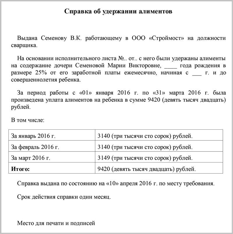 Справка о выплате алиментов от судебных приставов
